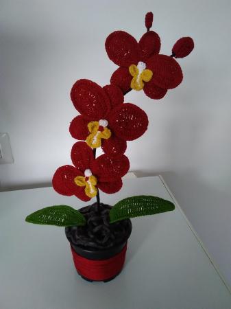 Orhidee croșetată în ghiveci - galbenă0
