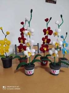 Orhidee croșetată handmade 2 flori2