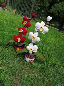 Orhidee croșetată handmade 3 flori0