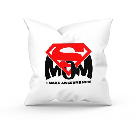 """Pernă personalizată """"Super Mom"""", 40*40 cm, alba față-spate [0]"""