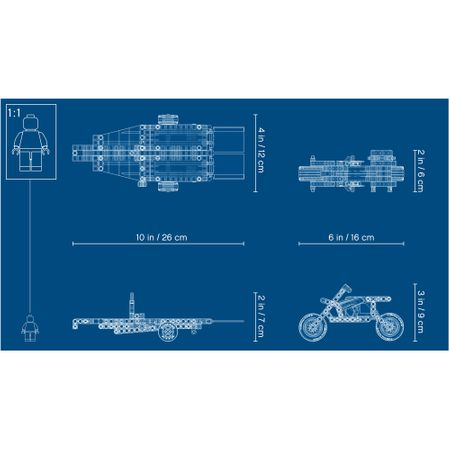 LEGO® Technic: Camion si motocicleta pentru cascadorii 42106 1