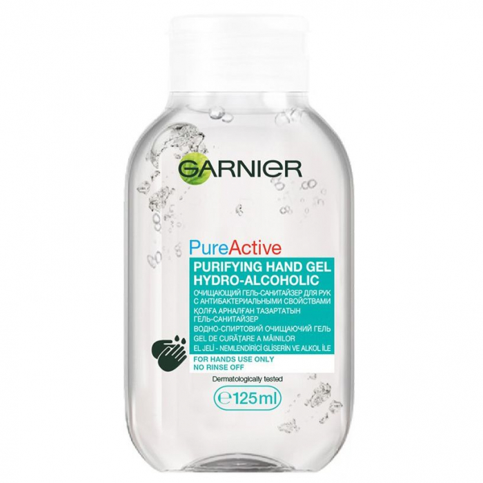 Gel dezinfectant pentru maini Garnier Pure Active, cu 65% alcool, efect antibacterian, 125 ml 0