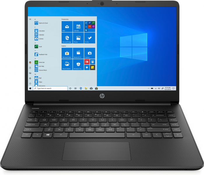 "Laptop HP, 14"", i3 1005G1 (pana la 3.4 GHz), 16 GB DDR4, 512 GB SSD, Windows 10 Home, Black [0]"