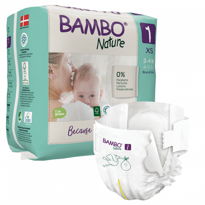 Scutece Bambo Nature, Eco-Friendly, nr1, 2-4 kg, 22 buc 0