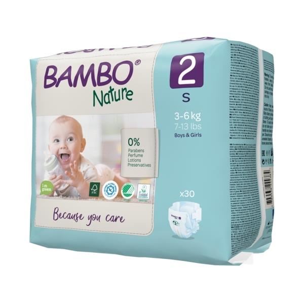 Scutece Bambo Nature, Eco-Friendly, nr2, 3-6 kg, 30 buc 1