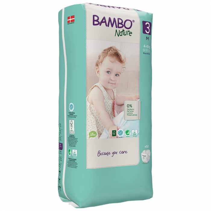 Scutece Bambo Nature, Eco-Friendly, nr3, 4-8 kg, 52 buc 1