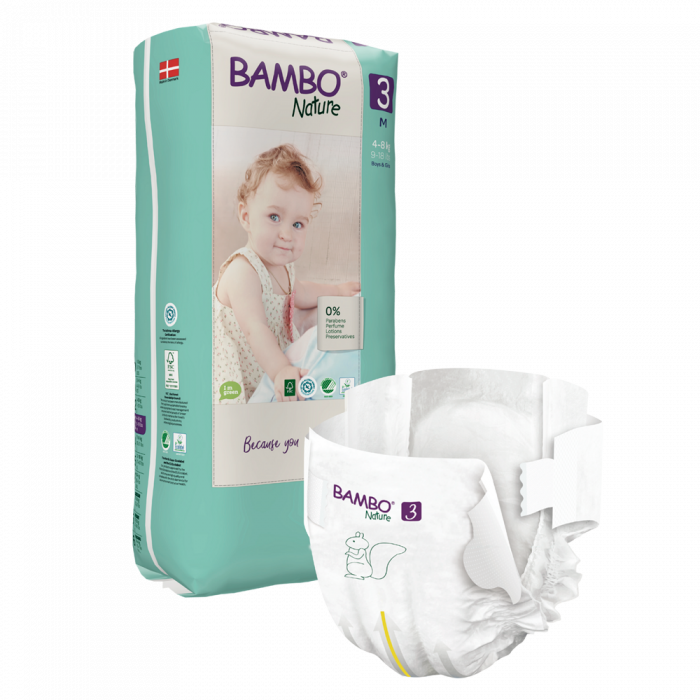 Scutece Bambo Nature, Eco-Friendly, nr3, 4-8 kg, 52 buc 0
