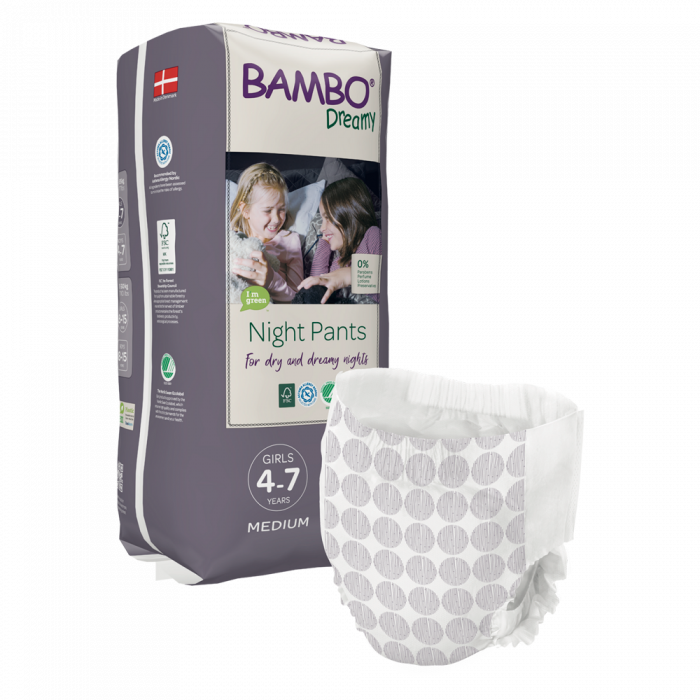 Scutece Chilotel Bambo Dreamy Night Girl, 4-7 ani, 15-35 kg, 10 buc 0