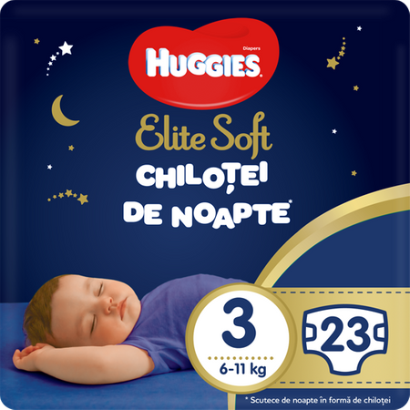 Scutece Chilotel Huggies Overnight, nr3, 6-11kg, 23 buc. 0