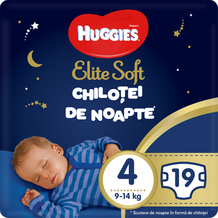 Scutece Chilotel Huggies Overnight, nr4, 9-14kg, 19 buc. 0