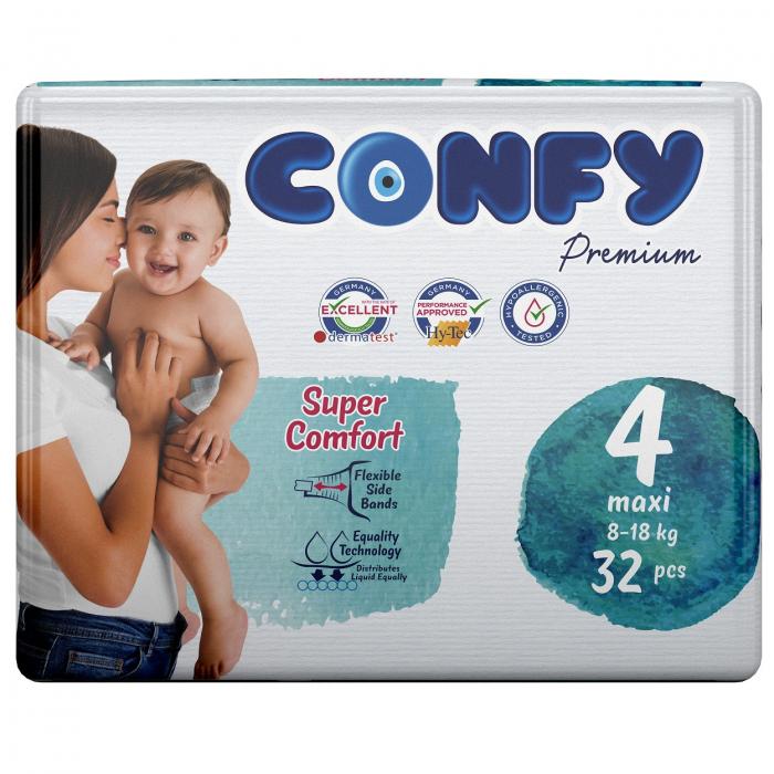 Scutece Confy Premium Copii MAXI ECO2, Nr. 4, 8 – 18 kg, 32 bucati 0