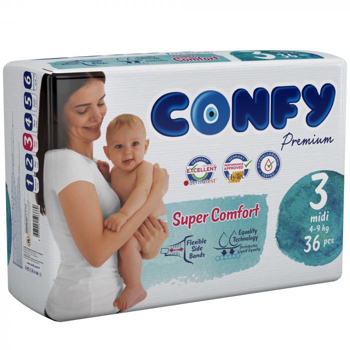 Scutece Confy Premium Copii  MDI ECO2, Nr. 3, 4 – 9 kg, 36 bucati [0]