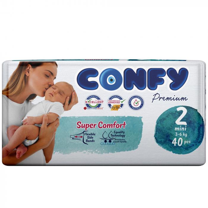 Scutece Confy Premium Copii MINI ECO2, Nr. 2, 3 – 6 kg, 40 bucati 0