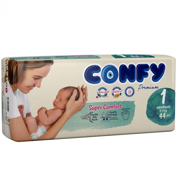 Scutece Confy Premium nou nascuti, Nr. 1, 44 bucati 0