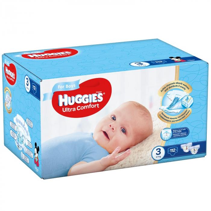 Scutece Huggies Ultra Confort, Boy, nr3, 5-9kg, 112buc. 0
