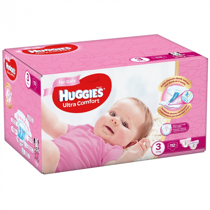 Scutece Huggies Ultra Confort, Girl, nr3, 5-9kg, 112buc. 0