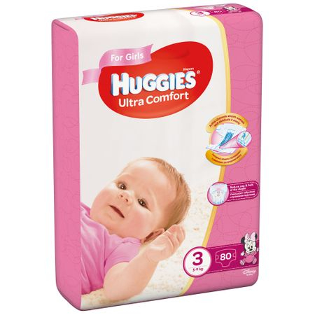 Scutece Huggies Ultra Confort, Girl, nr3, 5-9kg, 80buc. 0