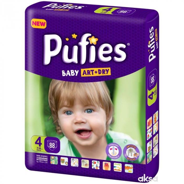 Scutece Pufies Baby Art Dry, nr4 BP, Maxi, 7-14 kg,  88 buc. 0