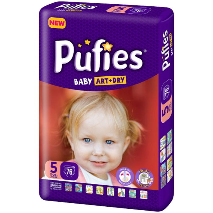 Scutece Pufies Baby Art Dry, nr5 BP, Junior, 11-20 kg,  76 buc. [0]
