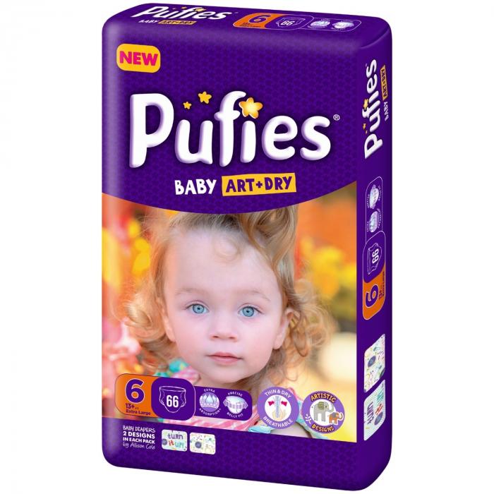 Scutece Pufies Baby Art Dry, nr6 BP, Extra Large, 13+ kg, 66 buc. 0