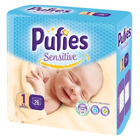 Scutece Pufies Sensitive, nr1 SP, New Born, 2-5 kg, 26 buc 0
