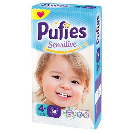 Scutece Pufies Sensitive, nr4+ MP, Maxi+, 9-16 kg, 50 buc. 0
