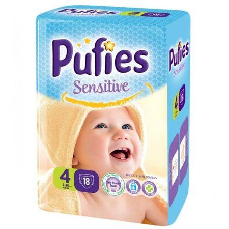 Scutece Pufies Sensitive, nr4 SP, Maxi, 7-14 kg, 18 buc. 0