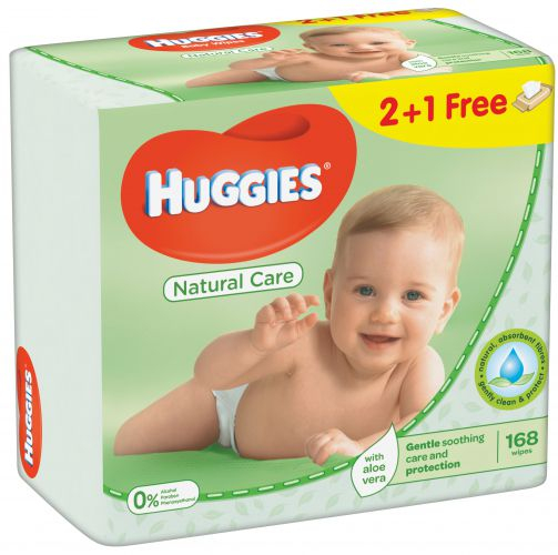 Servetele Umede Huggies Natural Care, 3 pachete, 168buc 0