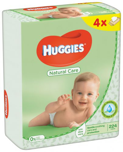 Servetele Umede Huggies Natural Care, 4 pachete, 224buc 0