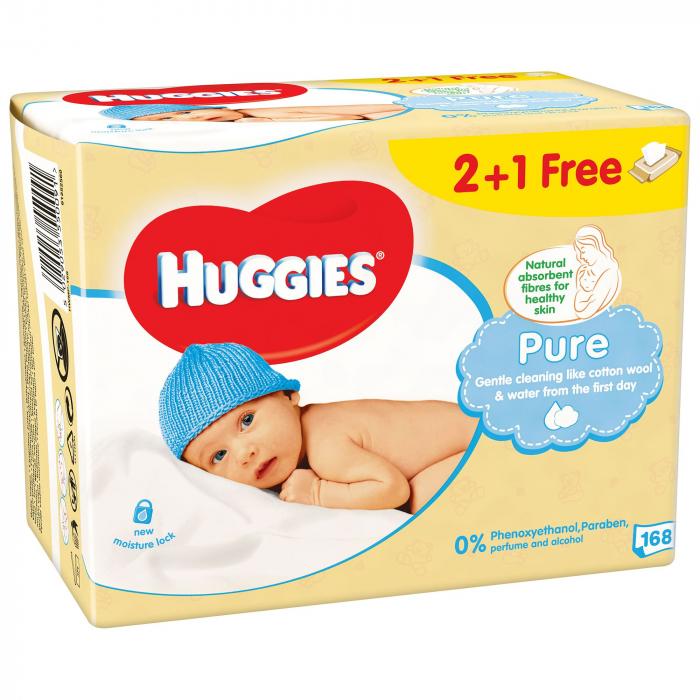 Servetele Umede Huggies Pure, 3 pachete, 168buc 0