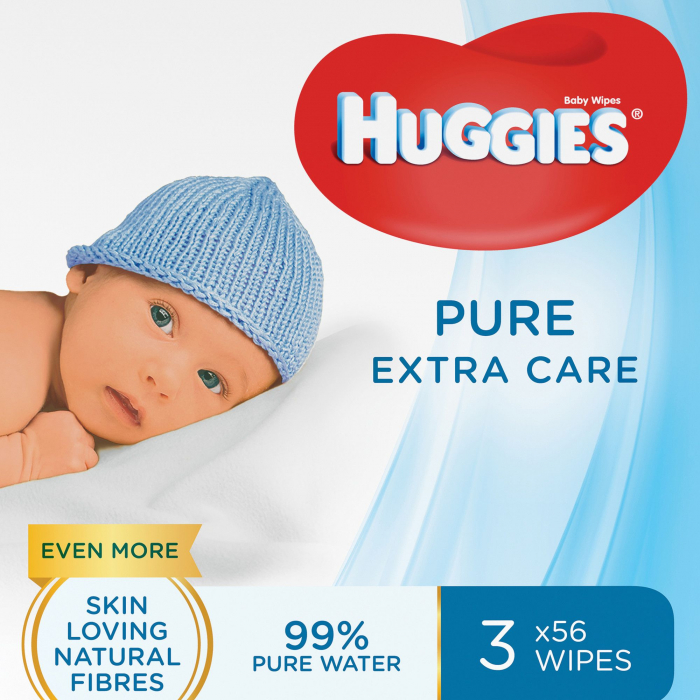 Servetele Umede Huggies Pure Extra Care, 3 pachete, 168buc 0