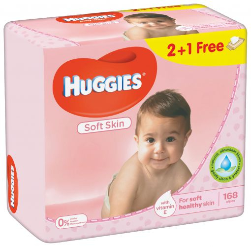 Servetele Umede Huggies Soft Skin, 3 pachete, 168buc 0