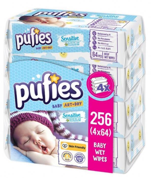 Servetele Umede Pufies Sensitive, 4 x 64 buc 0