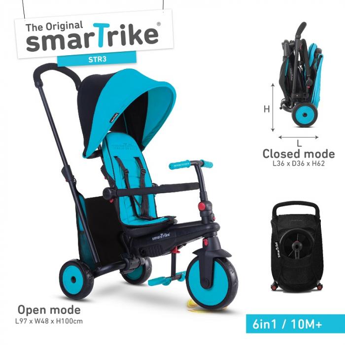 SmarTrike Tricicleta pliabila Smart fold 6w1 STR3, de la 10 luni, Albastru [0]