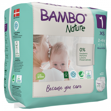 Scutece Bambo Nature, Eco-Friendly, nr1, 2-4 kg, 22 buc1
