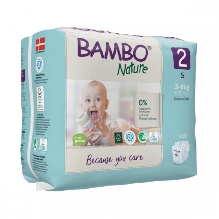 Scutece Bambo Nature, Eco-Friendly, nr2, 3-6 kg, 30 buc0