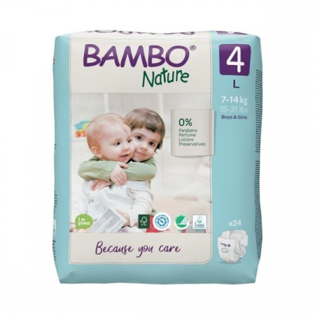 Scutece Bambo Nature, Eco-Friendly, nr4, 7-14 kg, 24 buc0