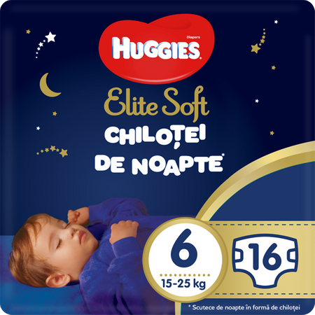 Scutece Chilotel Huggies Overnight, nr6, 15-25, 16 buc.