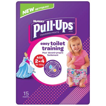 Scutece Chilotel Huggies, Pull-Ups, Girl, 2-4ani, 18-23kg, 15buc.