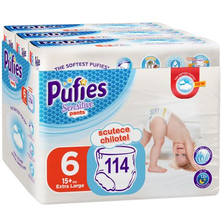 Scutece Chilotel Pufies Sensitive, nr6, Extra Large, 13+ kg, 114 buc.