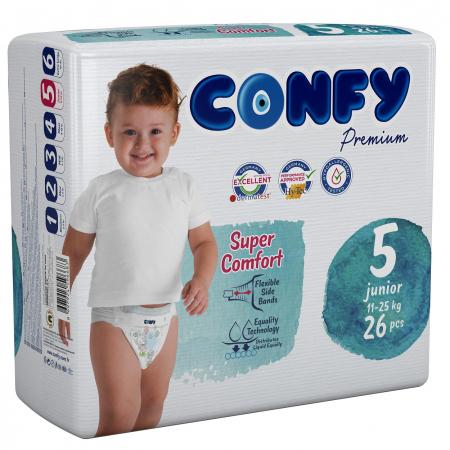 Scutece Confy Premium Copii BABY Junior ECO2, Nr. 5, 11 – 25 kg, 26 bucati0