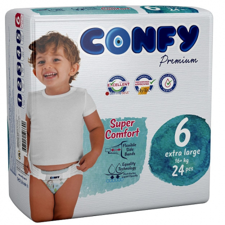 Scutece Confy Premium Copii Extralarge ECO2, Nr. 6 16+ kg, 24 bucati [0]
