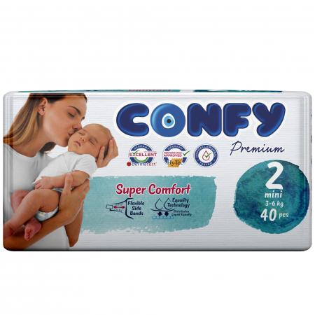 Scutece Confy Premium Copii MINI ECO2, Nr. 2, 3 – 6 kg, 40 bucati0