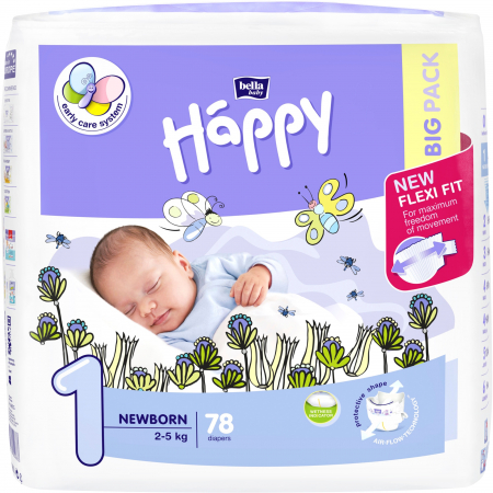 Scutece copii Happy, New Born, nr 1, 2-5kg, 78 bucati