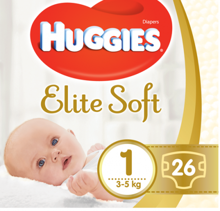 Scutece Huggies Elite Soft, nr1, 3-5kg, 26 buc