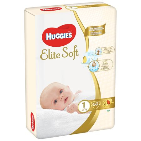 Scutece Huggies Elite Soft, nr1, 3-5kg, 50 buc