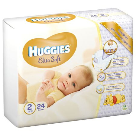 Scutece Huggies Elite Soft, nr2, 4-6kg, 24 buc