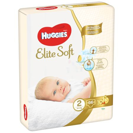 Scutece Huggies Elite Soft, nr2, 4-6kg, 66 buc