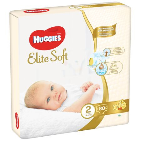 Scutece Huggies Elite Soft, nr2, 4-6kg, 80 buc