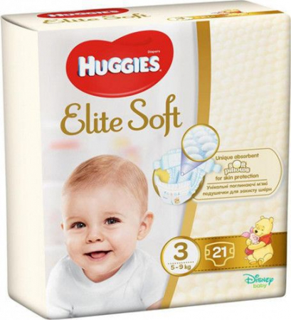 Scutece Huggies Elite Soft, nr3, 5-9kg, 21 buc